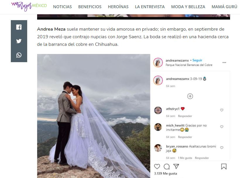 Screenshot of MujerMexico article about Andrea Meza.