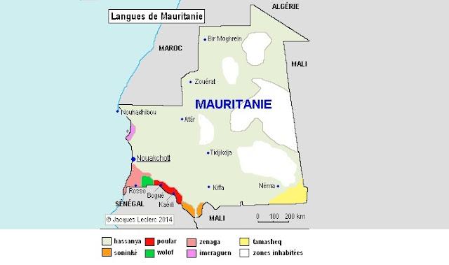 خريطة لغات موريتانيا