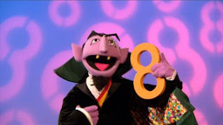 The Count sings Eight is Great song, Sesame Street Episode 4407 Still Life With Cookie season 44
