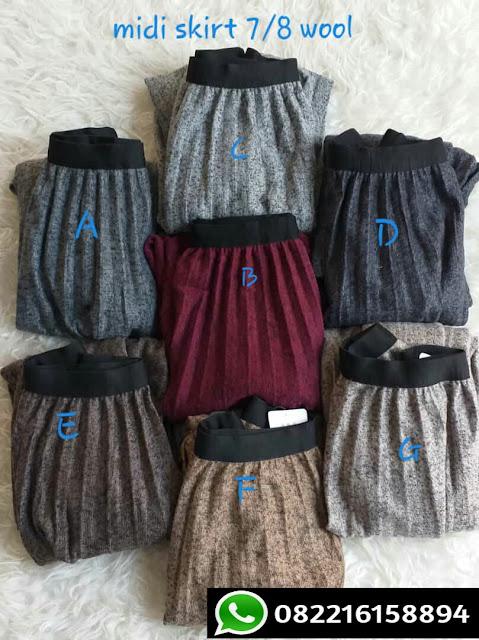 rok plisket bahan premium wool