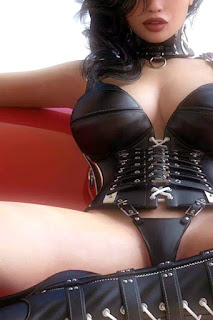 dominatrix in black leather corset and panties