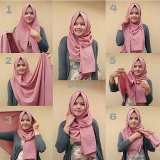 tutorial hijab pashmina kantor