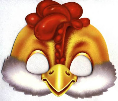 Máscaras de pollito color para imprimir
