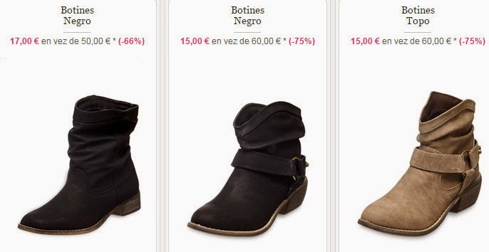 Algunos modelos de botines disponibles por 15 euros en el interior.