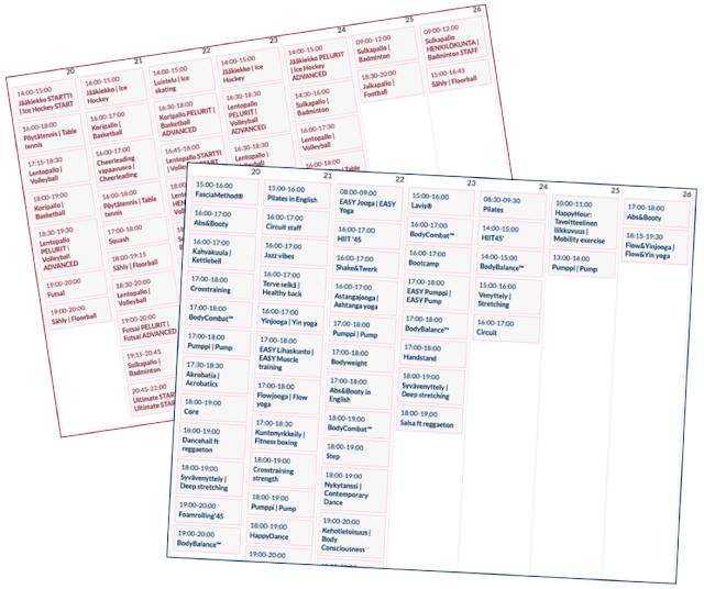 Tässä esimerkiksi ensi viikon palloilu- (punainen) sekä ryhmäliikuntakalenteri (sininen). Siinä on mistä valita!