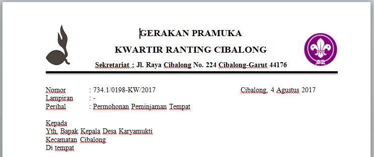 Contoh Surat Permohonan Peminjaman Tempat Untuk Kegiatan Kemah Pramuka