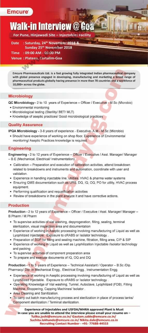 Emcure Pharmaceuticals   Walk-In for Multiple Departments   24th & 25th November 2018   Goa