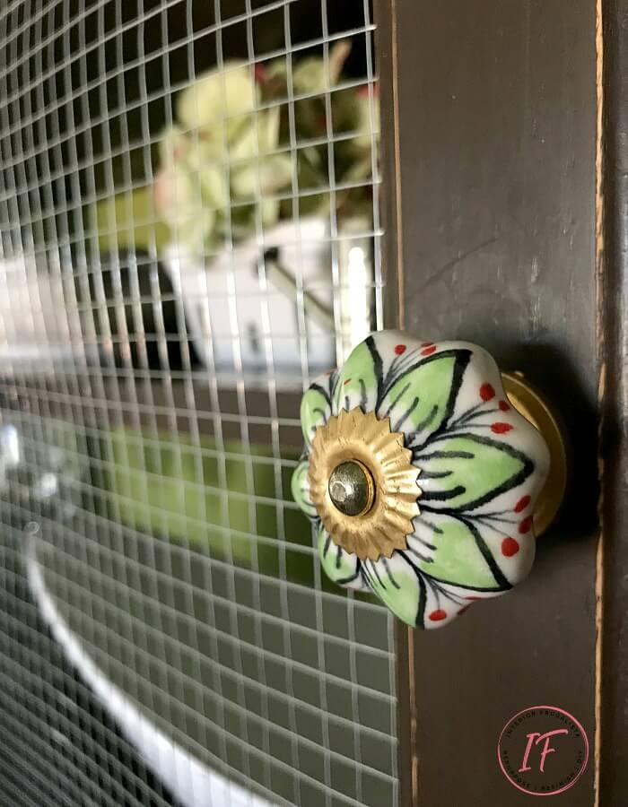 Built-In Kitchen Pantry Makeover Floral Knobs