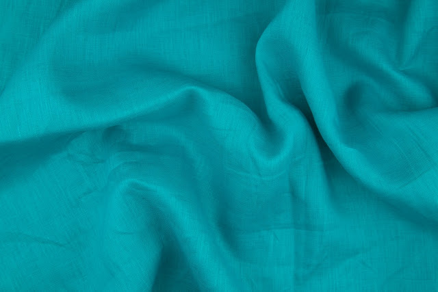 Turquoise Handkerchief Linen Fabric