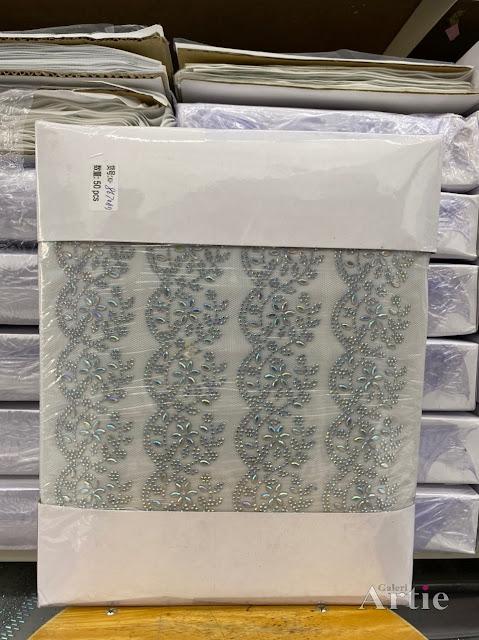 Hotfix stickers pelekat dmc aplikasi tudung bawal fabrik corak bunga tangkai dedaun
