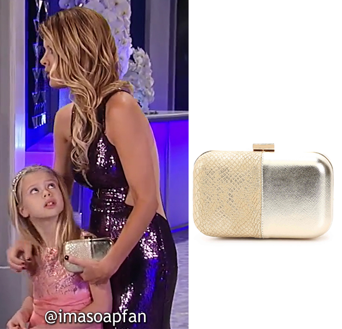 Nina Reeves, Michelle Stafford, Embossed Gold Clutch, Lulu Townsend, Nurses Ball, GH, General Hospital