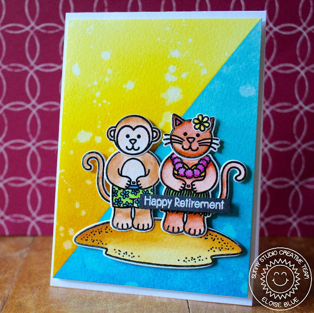Sunny Studio Stamps: Comfy Creatures and Island Getaway Summer Card by Eloise Blue.