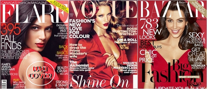Vogue Flare Harper's Bazaar red covers