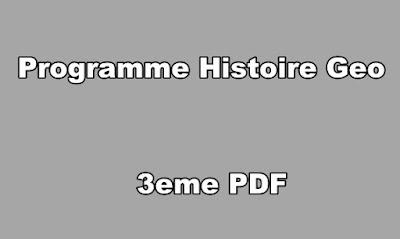 Programme Histoire Geo 3eme PDF