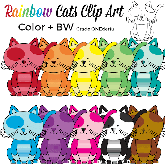 Rainbow Cats Clip Art plus a FREE cat coloring page. Super cute! Be sure to check them out.