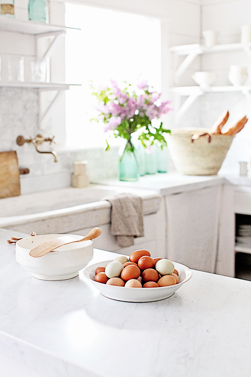 Tranquil French Country Farmhouse Kitchen by Dreamywhites with slow living vibe - found on Hello Lovely