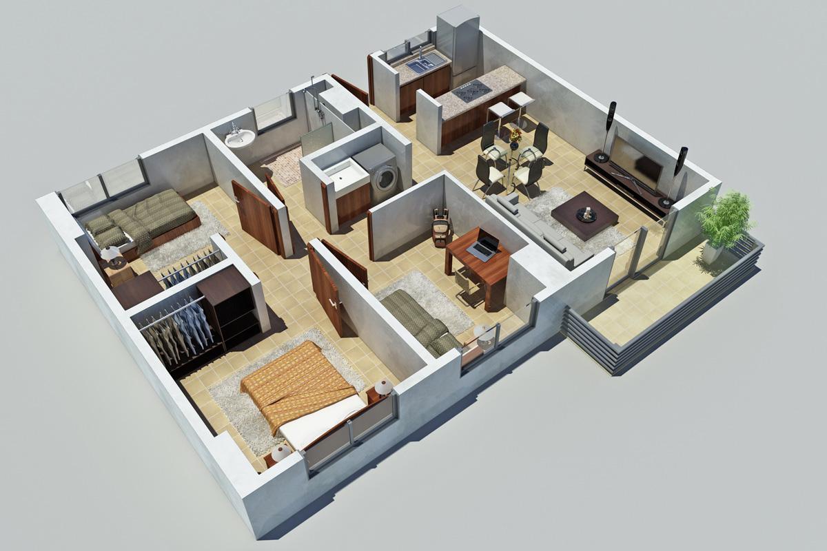Planos 3d de arquitectura para ventas de propiedades for Casa 3d gratis