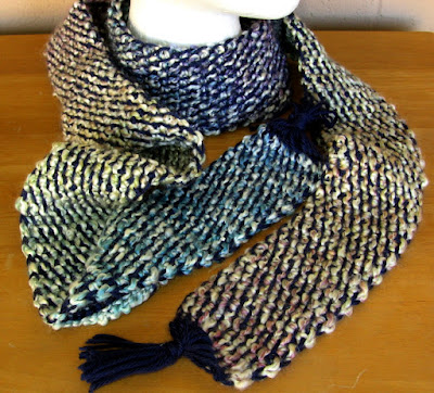Blue Tweed 86 Inch Long Scarf - Handmade Afghan Crochet Tweed By Ruth Sandra Sperling at RSS Designs In Fiber