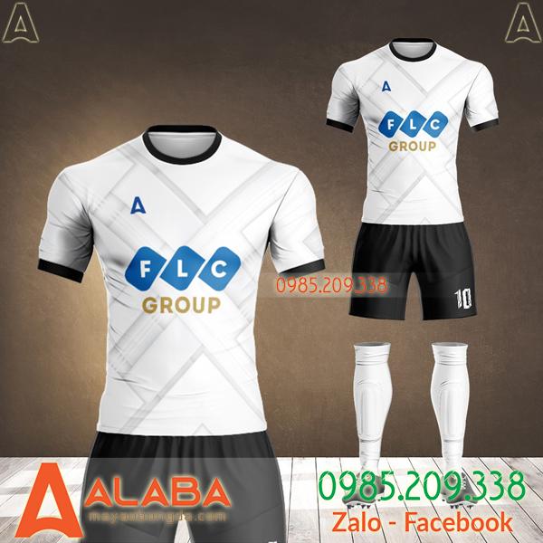áo bóng đá thiết kế flc màu trắng
