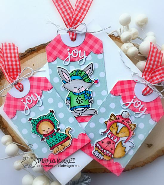 Cute Animal Gift Tags by Maria Russell | Sweater Weather Stamp Set and Fancy Edges Tag Die Set by Newton's Nook Designs #newtonsnook #handmade