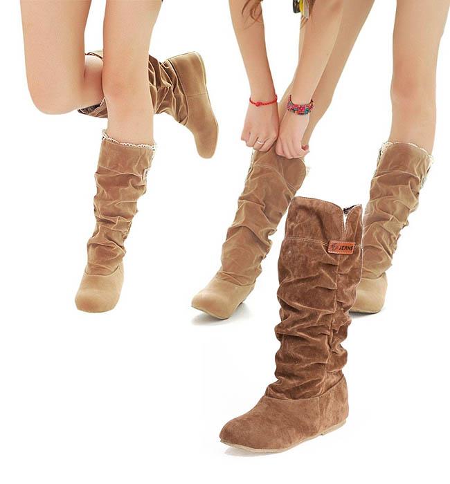 Sepatu kaki besar wanita model flat knee boots