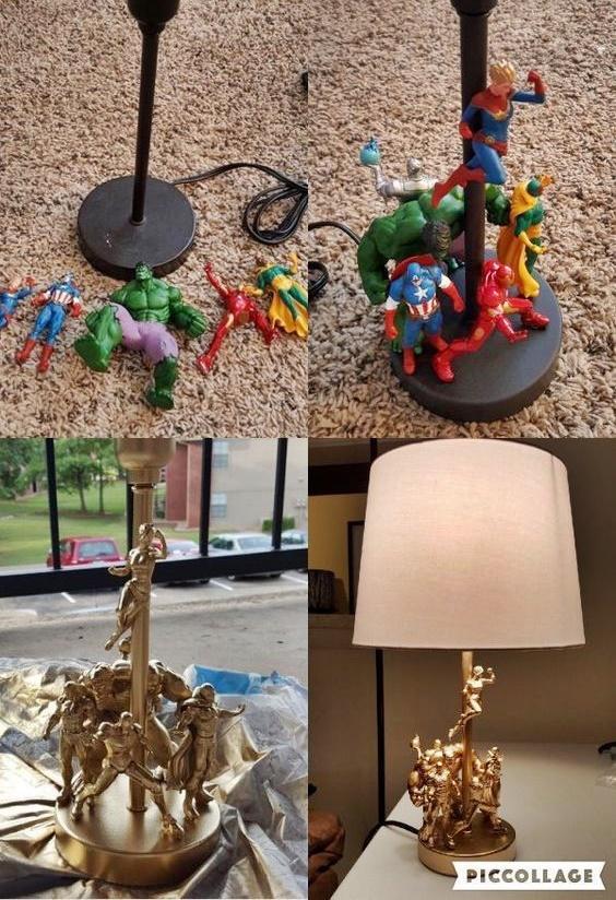 lampa zdobiona zabawkami
