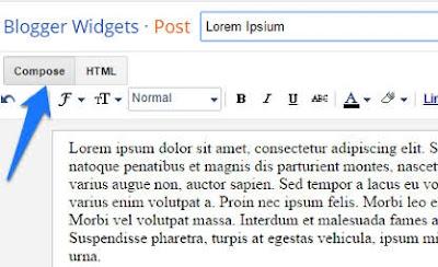 compose dan HTML pada dasbor blogger