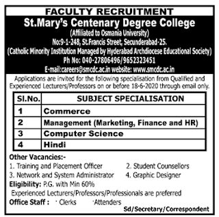 Secunderabad, Lecturer, Professor Jobs in St.Mary's Centenary Degree College Recruitment 2020