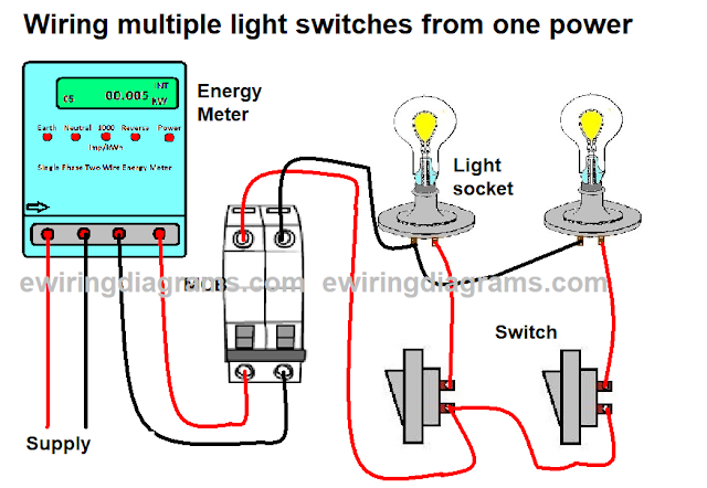 wiring multiple light switches from one power source