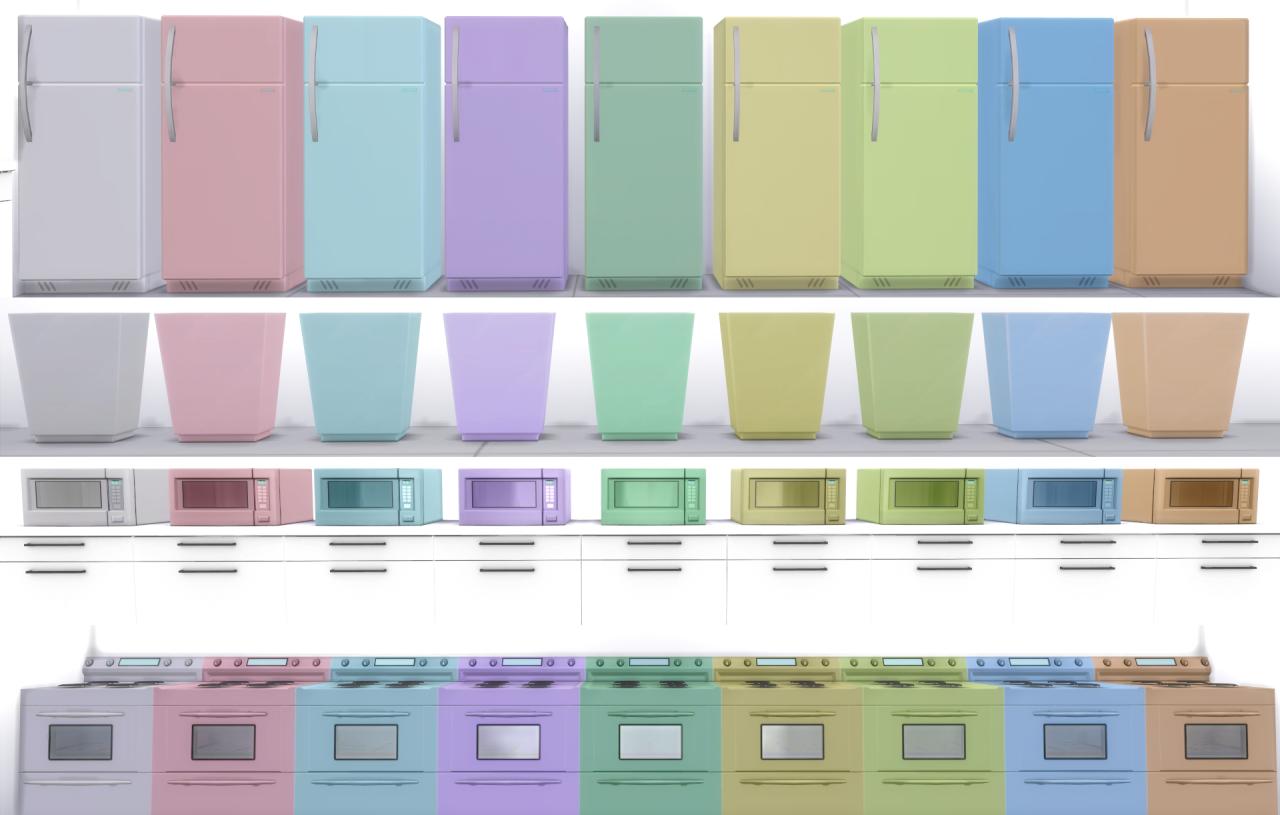 Pastel Kitchen My Sims 4 Blog Pastel Kitchen Appliances Recolors By Doughnutsims