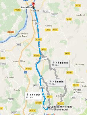 percurso no mapa de Agualonga até Valença