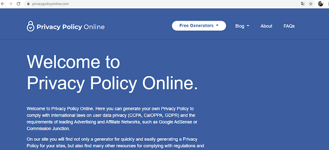 home page of Privacy Policy