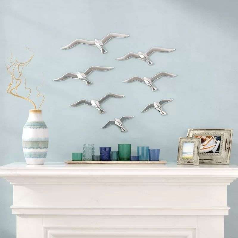 Aluminum Bird Wall Decor Set
