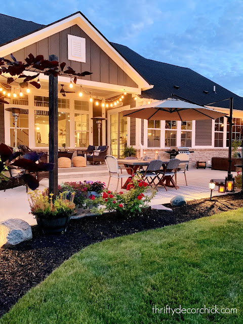 back porch with DIY string lights