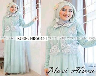 Model Baju Brokat Terbaru Muslim Terusan Kombinasi Batik