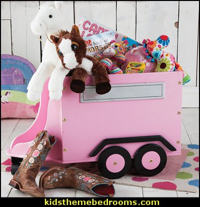 Horse Trailer Toy Box   horse theme bedroom - horse bedroom decor - horse themed bedroom decorating ideas - Equestrian decor - equestrian themed rooms - cowgirl theme bedroom decorating ideas - Dressage Wall Decals - English riding theme - equestrian bedding - Horse Riding bedding - horse stuff for your bedroom - Pony bedroom ideas -