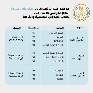 جدول الامتحانات التجريبيه للصف الاول الثانوي الترم الثاني ابريل 2021.