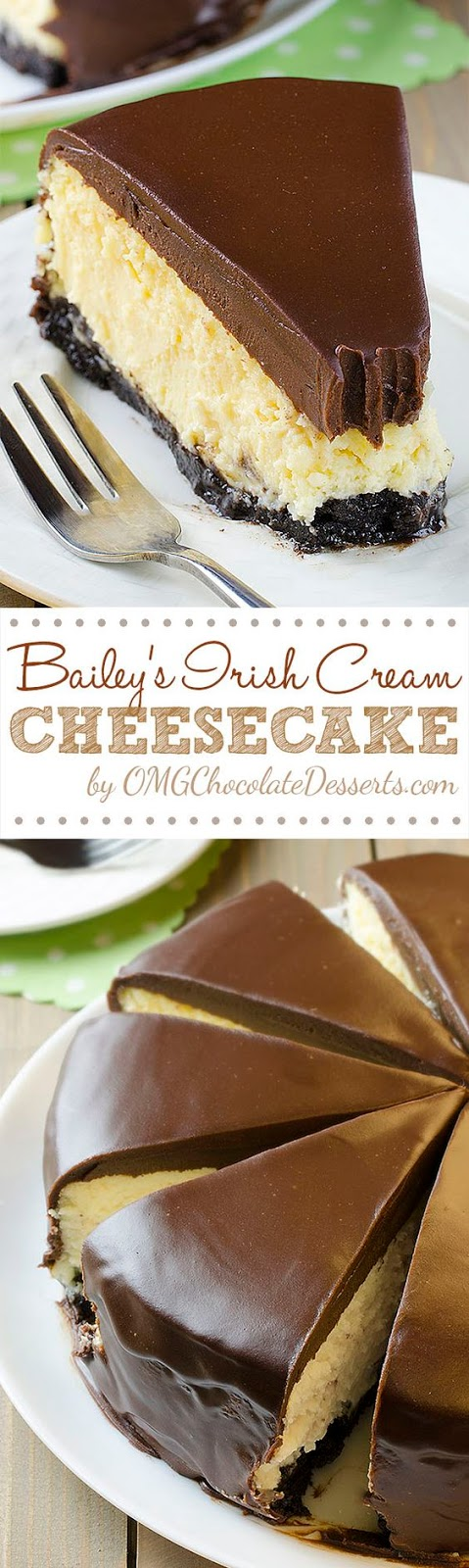 OK, to be honest, I'm not a great fan of desserts with the taste of liquor and alcohol until I tried this great Bailey's Irish Cream cheesecake which made me change my opinion.  Cheesecake was always my first choice when dessert for any occasion comes into consideration. If it was a cake or a mini version – cheesecake cupcakes, bake or no bake recipes, it is always my favorite. There is no cheesecake that I haven't made multiple times: Reese's, chocolate, Nutella, strawberry, pumpkin, peanut butter… but I always avoided Irish Cream.
