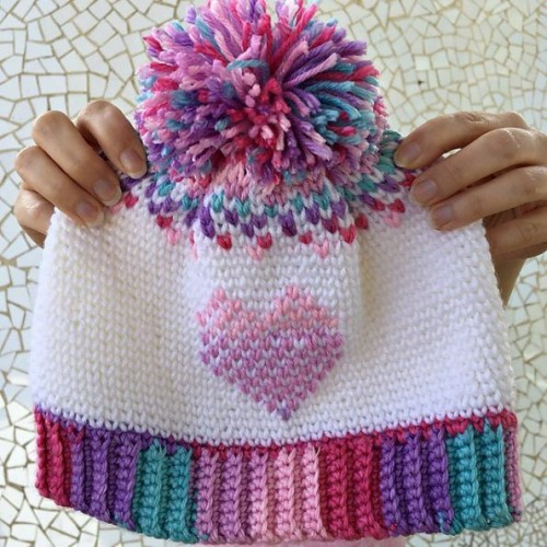 Heart Showers Beanie - Crochet Pattern