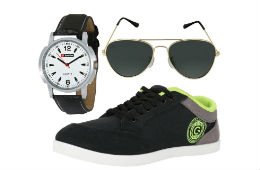 Globalite Men's Casual Shoes + Lotto Watch + Sunglasses Combo For Rs 599 Amazon