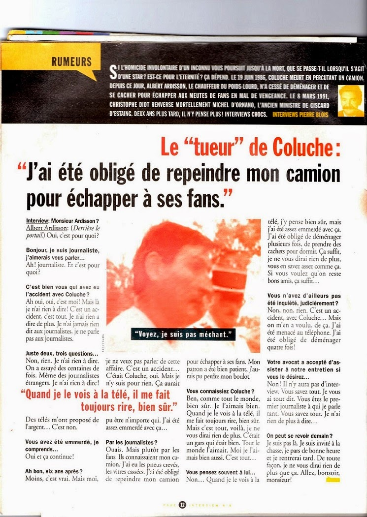 Olivier Porri-Santoro, interview albert ardisson, Le petit niçois, Entrevue, interview conducteur camion Coluche, putain de camion, scoop conducteur coluche, accident Coluche, livre Coluche l'accident, Albert Ardisson, Pierre Blois