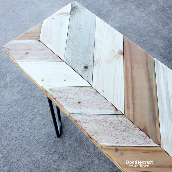 How to make a chevron bench with reclaimed wood and hairpin legs.