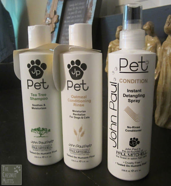 John Paul Pet tea tree shampoo, oatmeal conditioning rinse, and instant detangling spray