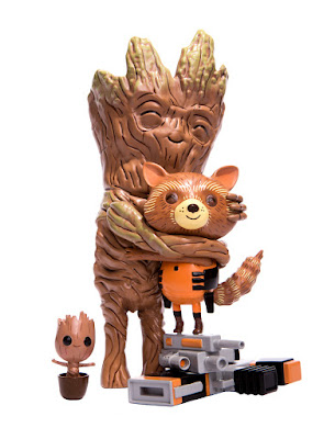 Mondo Exclusive Edition Guardians of the Galaxy Rocket & Groot: Treehugger Marvel Vinyl Figure by Mike Mitchell x Mondo