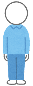 服を着た棒人間のイラスト(青)