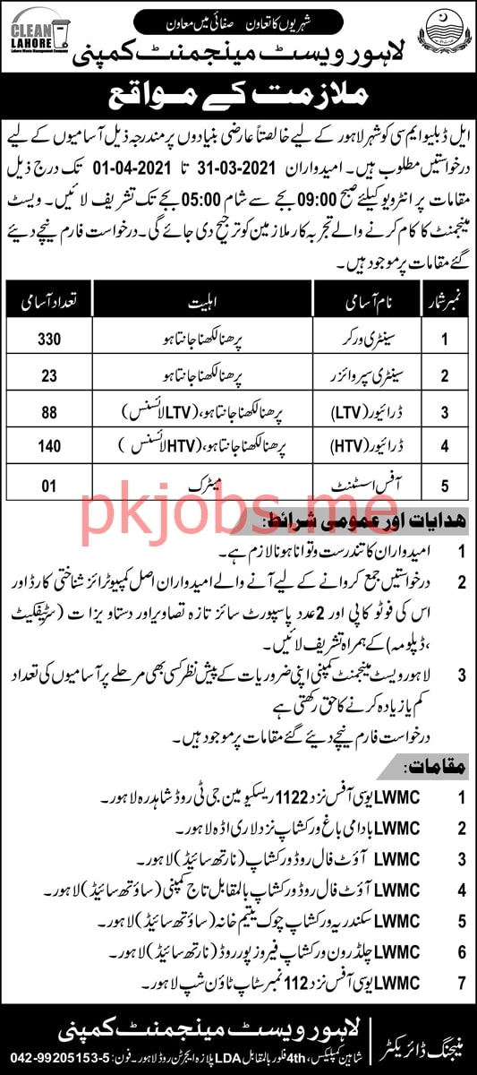 Latest Lahore Waste Management Company Management Posts 2021