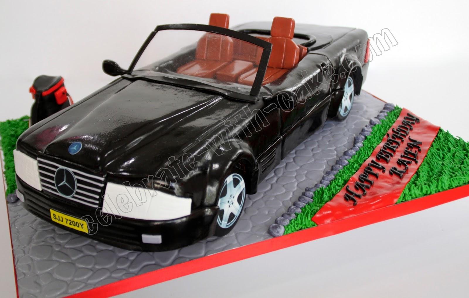 Celebrate With Cake Black Convertible Mercedes Car