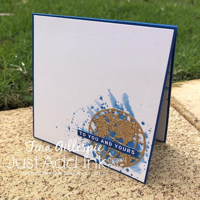 scissorspapercard, Stampin' Up!, Just Add Ink, Peace & Joy, Joy Dies, World Map Dies, Tim Holtz Mini Globe Die, Glimmer Paper, Smooshing