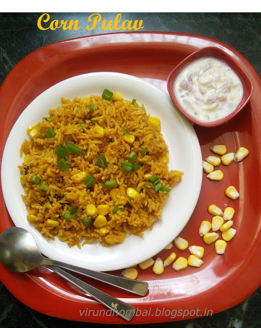This pulav is so easy and delicious too. It's the perfect pulav for lunch boxes, potlucks and get togethers. There are so many different ways you could do this pulav, but this recipe is a healthy one with less oil. This corn pulav is from the cookbook 300 recipes for diabetes by Chef. Mallika Badrinath. I have used only corn kernels in this pulav. Add excitement to your pulav with roasted nuts or pan fried capsicum pieces or tossed paneer cubes. If you do not like the strong flavor of the saffrons then leave it. I have used spring onions for garnishing if you do not have in your hand replace it with chopped coriander leaves.Let's see how to prepare this Corn pulav with step by step photos.
