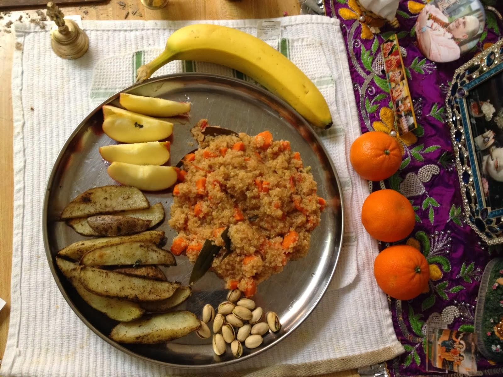 Ekadasi Prasadam - Quinoa, Baked Potatoes : Krishna